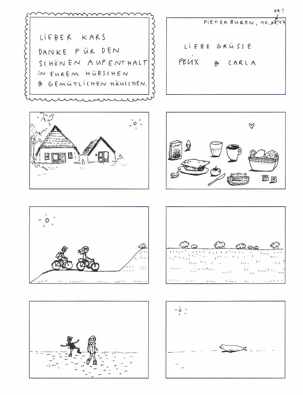 april 2017. Te gekke bijdrage van Felix en Carla met prachtige mini-pentekeningen.